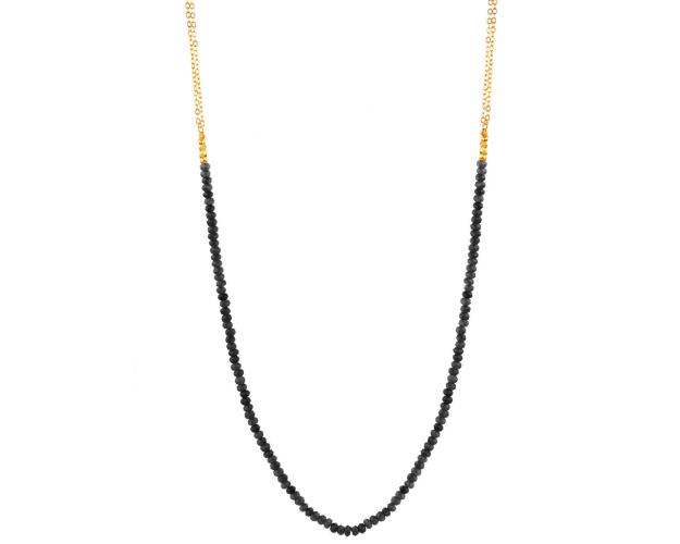 Gold-Plated Brass Necklace with Quartz