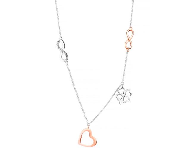9ct White Gold, Pink Gold Necklace with Diamonds