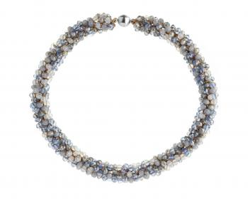 Stainless Steel, Polyester Necklace with Glass