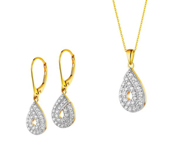8ct Rhodium-Plated Yellow Gold Set with Cubic Zirconia