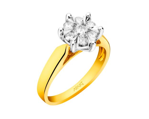 14ct Yellow Gold, White Gold Ring with Diamonds