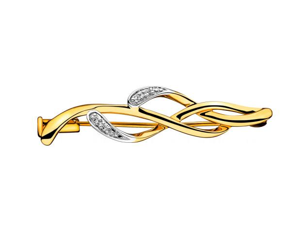 14ct Yellow Gold Brooch with Diamonds