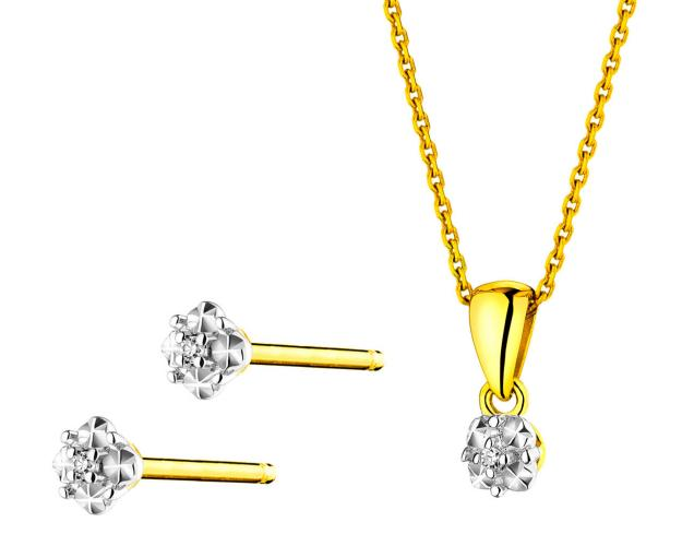 Yellow Gold Diamond Earrings & Pendant - Set