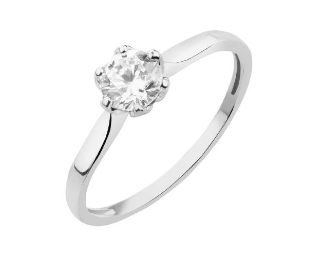 8ct White Gold Ring with Cubic Zirconia