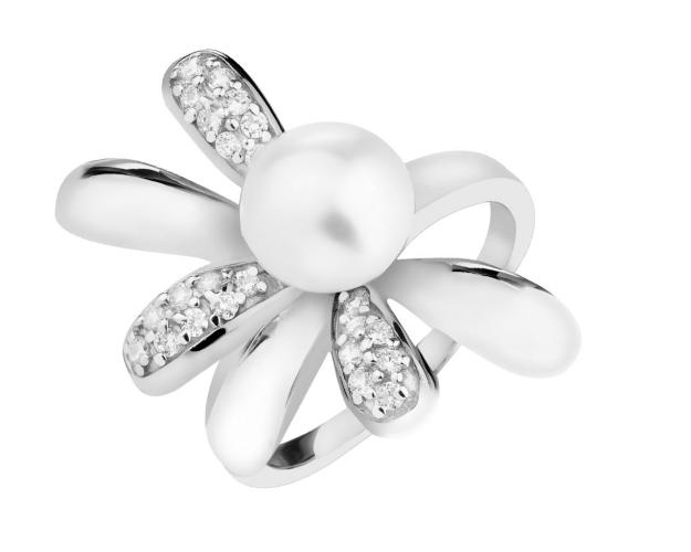 Rhodium Plated Silver Ring with Pearl
