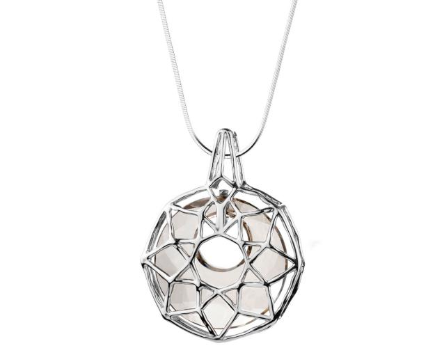 Rhodium Plated Silver Pendant with Crystal