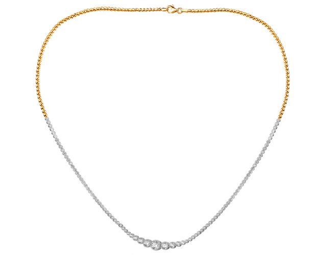 14ct Rhodium-Plated Yellow Gold Necklace with Cubic Zirconia