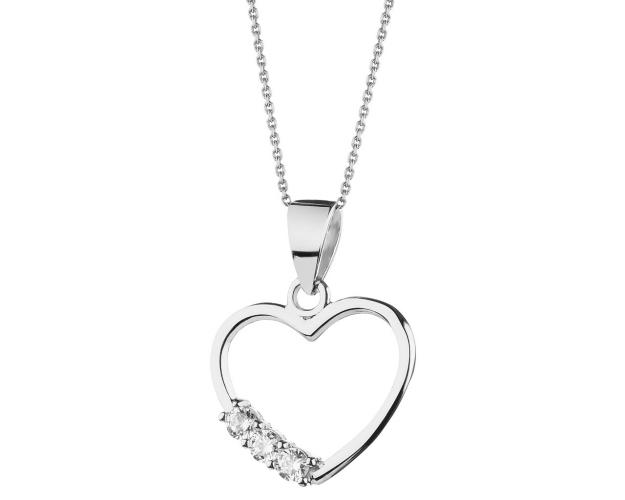8ct White Gold Pendant with Cubic Zirconia