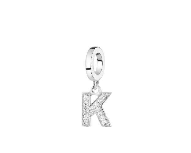 Rhodium Plated Silver Pendant with Cubic Zirconia
