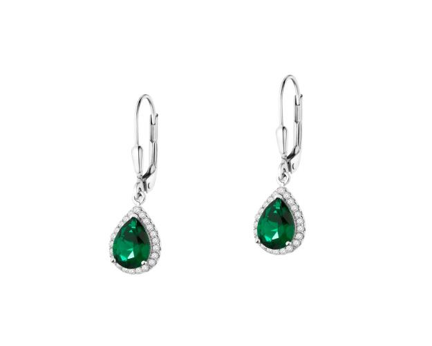 Rhodium-Plated Brass Earrings with Cubic Zirconia