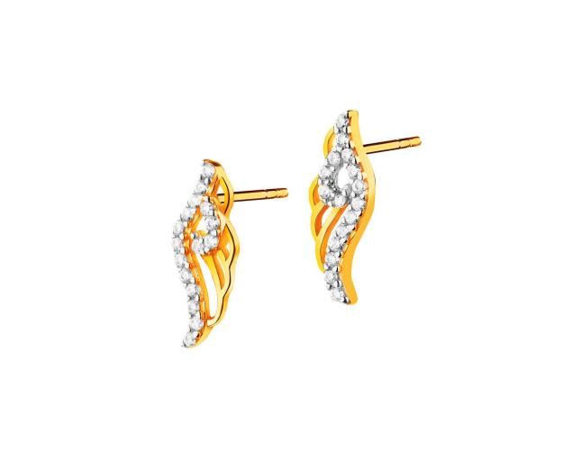 8ct Rhodium-Plated Yellow Gold Earrings with Cubic Zirconia
