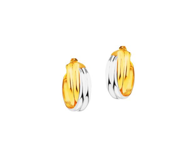 8ct Rhodium-Plated Yellow Gold Earrings