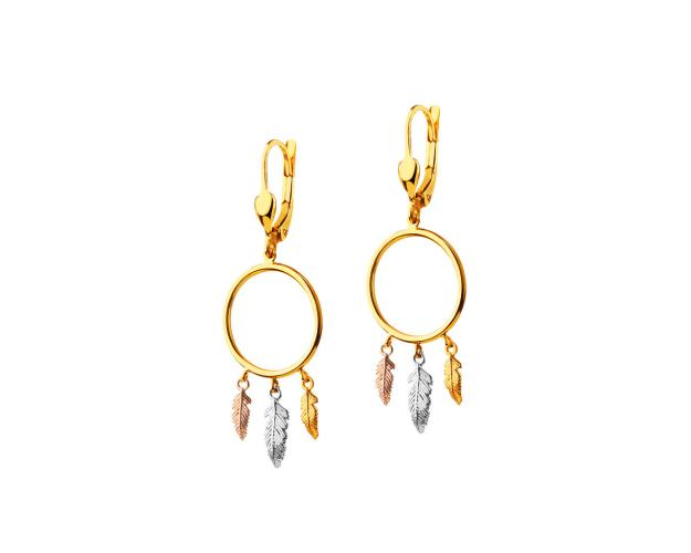 8ct Yellow Gold, White Gold, Pink Gold Earrings