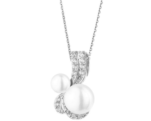 Rhodium Plated Silver Pendant with Pearl
