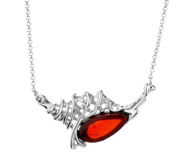 Rhodium Plated Silver Necklace with Amber
