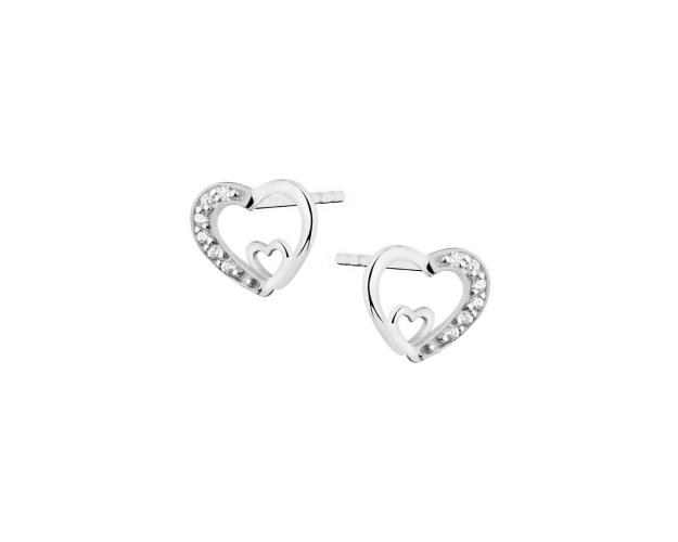 Rhodium Plated Silver Earrings with Cubic Zirconia