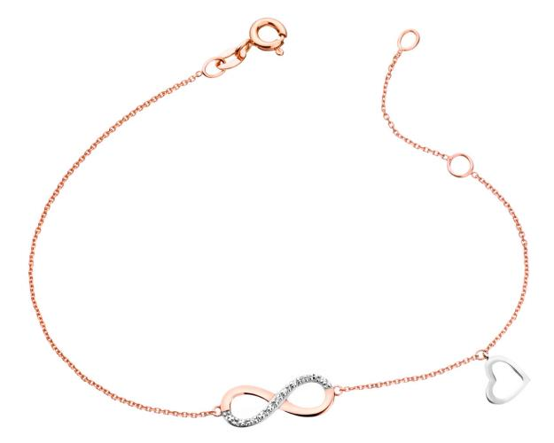 9ct Pink Gold, White Gold Bracelet with Diamonds