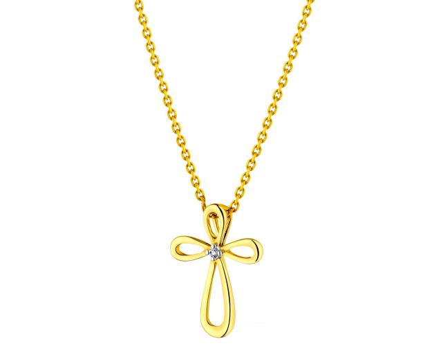 14ct Yellow Gold Pendant with Diamond