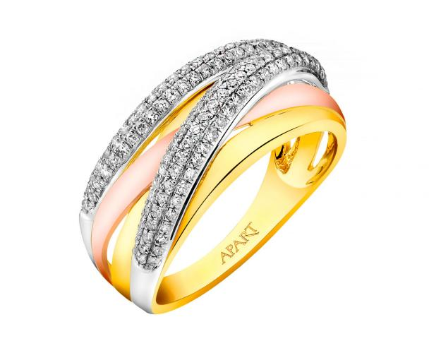 14ct Yellow Gold, White Gold, Pink Gold Ring with Diamonds