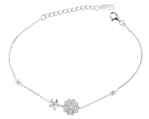 Rhodium Plated Silver Bracelet with Cubic Zirconia