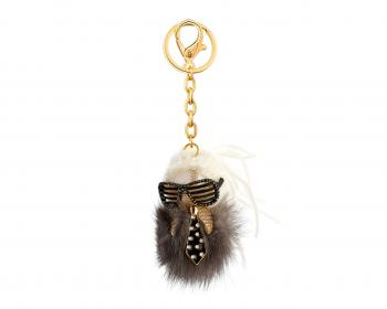 Gold-Plated Zink, Fur Keyring with Crystal
