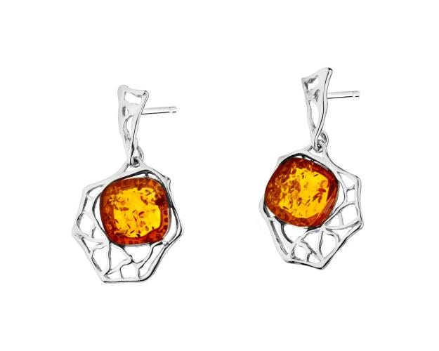 Rhodium Plated Silver Earrings with Amber