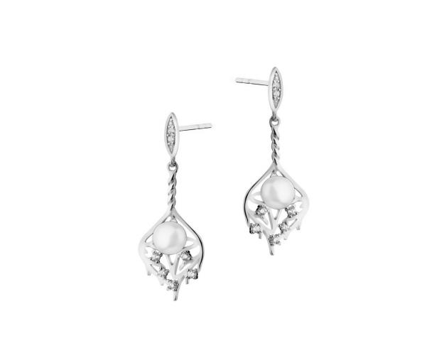 Rhodium Plated Silver Earrings with Pearl