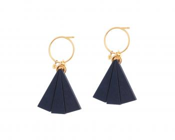 Gold Plated Earrings with Wooden Elements
