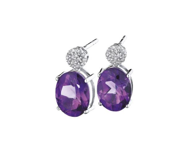 White gold earrings with diamonds and amethysts