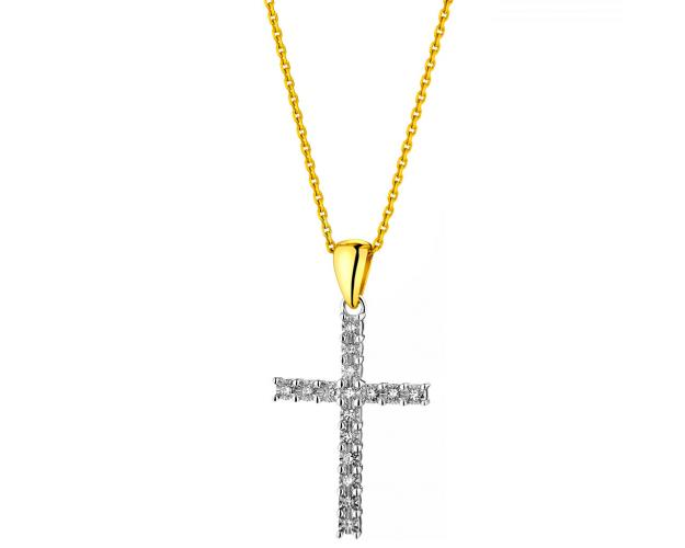 9ct White Gold, Yellow Gold Pendant with Diamonds