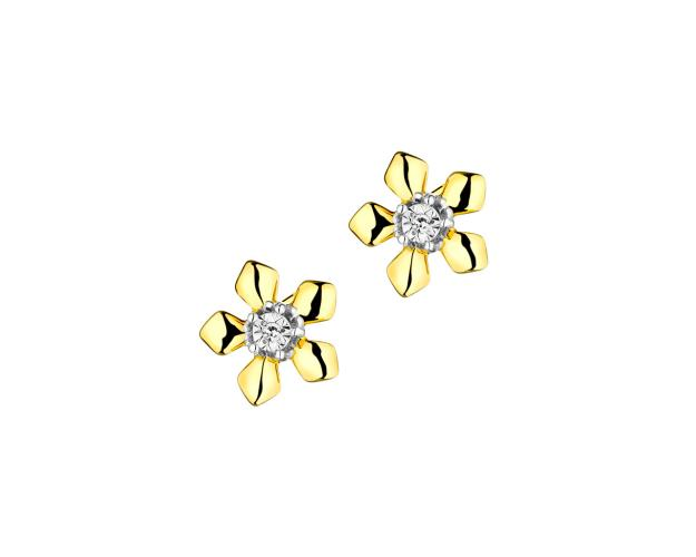 9ct Yellow Gold, White Gold Earrings with Diamonds