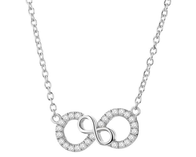 Rhodium Plated Silver Necklace with Cubic Zirconia