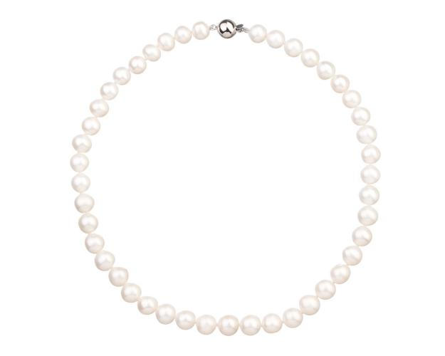 Rhodium Plated Silver Necklace with Pearl