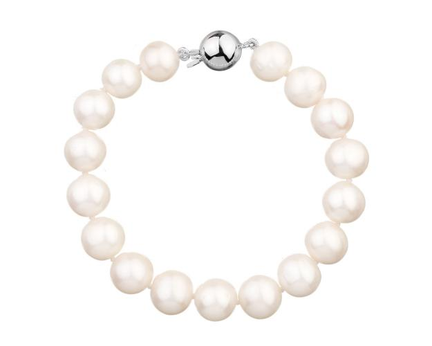 Rhodium Plated Silver Bracelet with Pearl