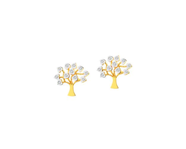 9ct Rhodium-Plated Yellow Gold Earrings with Cubic Zirconia