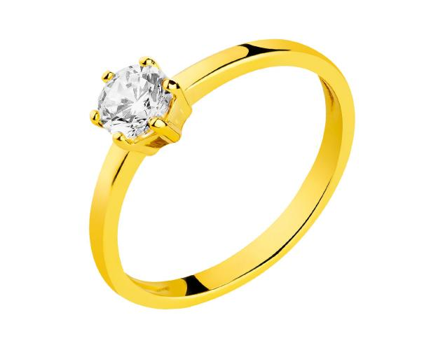 8ct Yellow Gold Ring with Cubic Zirconia