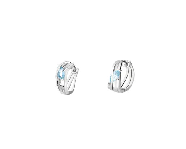 Rhodium Plated Silver Earrings with Topaz