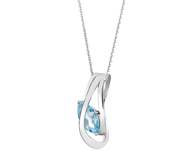 Rhodium Plated Silver Pendant with Topaz