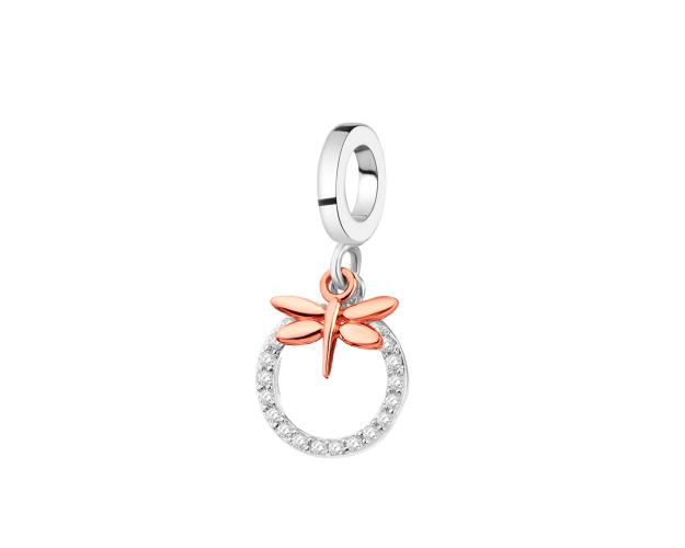 Rhodium-Plated Silver, Gold-Plated Silver Pendant with Cubic Zirconia
