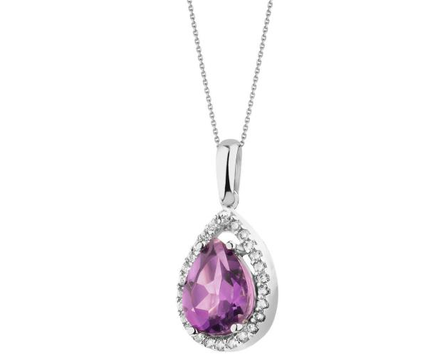 14ct White Gold Pendant with Amethyst