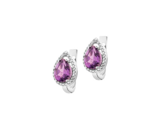 14ct White Gold Earrings with Amethyst