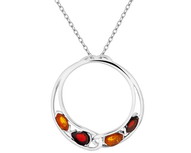 Rhodium Plated Silver Pendant with Amber