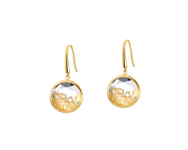 Gold-Plated Brass, Gold-Plated Silver Earrings with Citrine