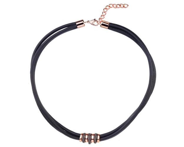 Stainless Steel, Leather Mineral Powder Coating Necklace