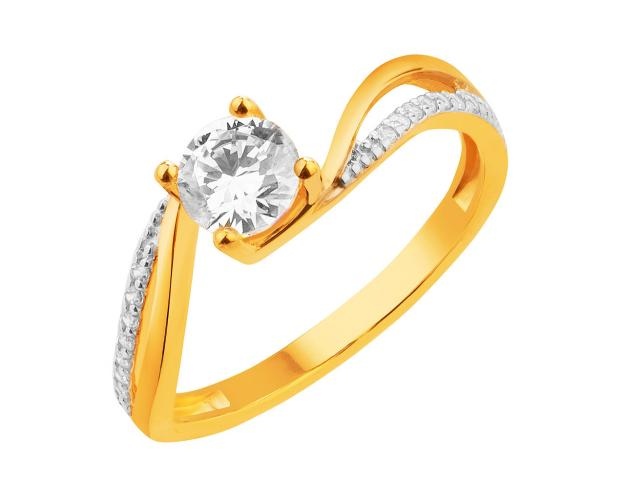8ct Rhodium-Plated Yellow Gold Ring with Cubic Zirconia
