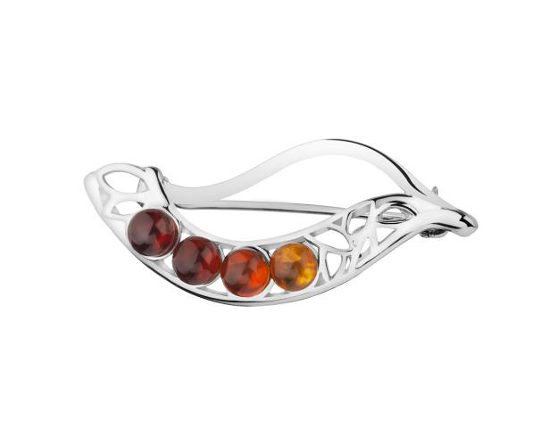 Rhodium Plated Silver Brooch with Amber