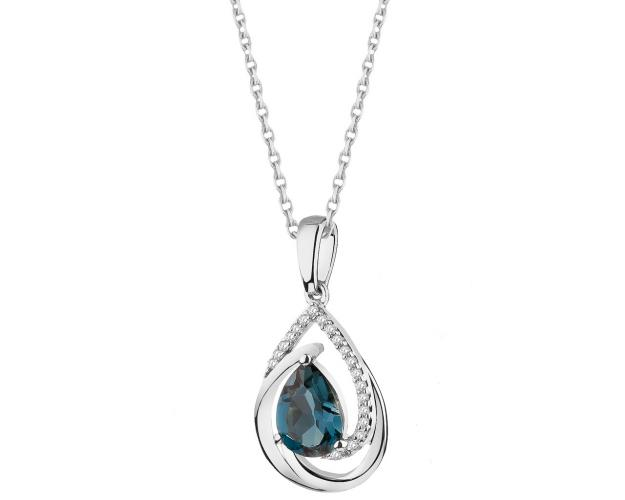 9ct White Gold Pendant with Diamonds