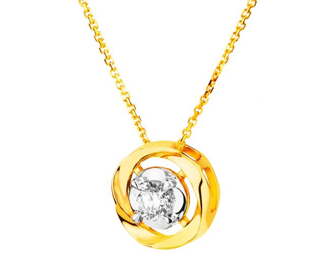 14ct Yellow Gold Necklace with Diamond