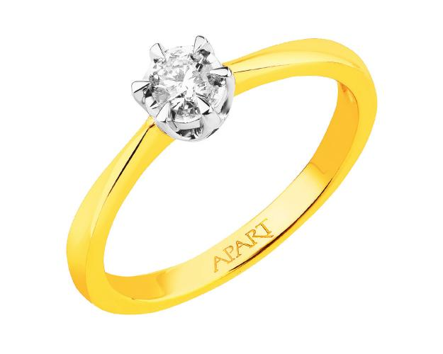 14ct Yellow Gold, White Gold Ring with Diamond