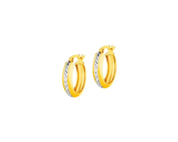 14ct Rhodium-Plated Yellow Gold Earrings